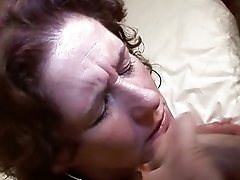 Dutch retro mature lady in red lingerie masturbates pussy before sucking dick