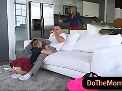Big boobs MILF busted teen couple fucking on the couch
