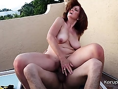 Older mature amateur Andi James calls a repair guy for the