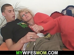 Elderly towheaded mommy in law railing his prick