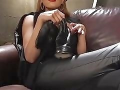 Domina shemale in leather fucks and dominates cute submissive boys