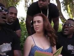 Four black dudes assfucked Jessie Parker