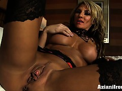 Sexy fit Abby touches her wet self for you