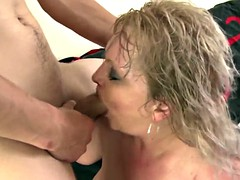 Ripe old mom suck and fuck her young boy toy