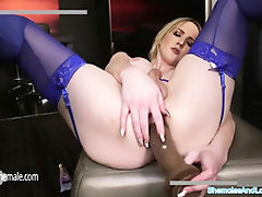 Edible Blond Kayleigh Faps her Firm Lollipop and Bangs herself
