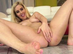 Shy blonde strips and plays with piss
