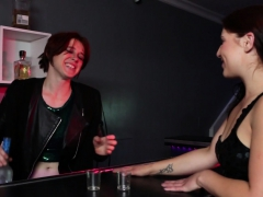 Lesbian Bartender fucks a stood up customer