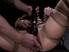 Bound slave slut throat fucked