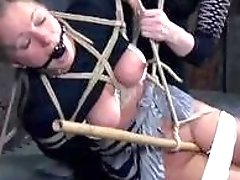 Horny slave punished while bound by lezdom mistress BDSM movie