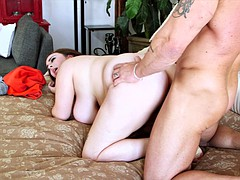 chubby brunette l fucks with a muscular hunk