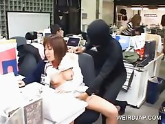 Asian cutie gets pussy fingered at work