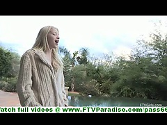 Nikkie innocent fragile blonde undressing flashing panties and flashing pussy outdoors